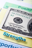 Hundred dollar bill and swot analysis Royalty Free Stock Images