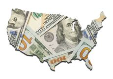 USA Money Map Stock Photo