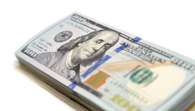 Hundred dollar bill on a white background.  Stock Images