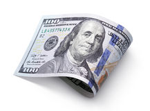 Hundred dollar bill on white Royalty Free Stock Photography