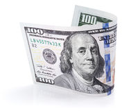 Hundred dollar bill on white Royalty Free Stock Photo