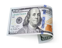 Hundred dollar bill on white Royalty Free Stock Photos