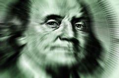 Hundred Dollar Bill Zoomed to Eyes Stock Photos