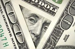 Hundred dollar bills. View from one hundred dollar bills Stock Photos