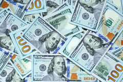 Hundred dollar bills. Background with new hundred dollar bills Royalty Free Stock Photo