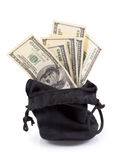 Hundred-dollar bills in a bag Royalty Free Stock Image