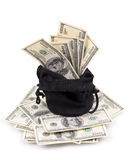 Hundred-dollar bills in a bag Stock Photography
