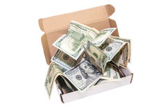 Hundred dollar bills in a big present box. isolated. Dollar bills in a big box Royalty Free Stock Images