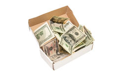 Hundred dollar bills in a big present box. isolated Stock Photo