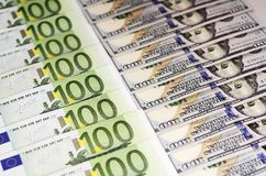 Hundred dollar bills and bills of one hundred euros beautifully laid out 2 royalty free stock image