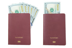 Hundred dollar bills blank passport, isolated Royalty Free Stock Photography