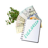 Hundred-dollar bills, a branch of green bushes and notebook on a. White background Royalty Free Stock Photo