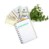 Hundred-dollar bills, a branch of green bushes and notebook on a. White background Royalty Free Stock Images