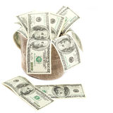 Hundred dollar bills in a canvas sack. Royalty Free Stock Image