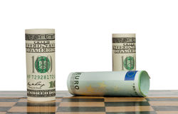 Hundred dollar bills in a chess game. Win Euro Stock Photography
