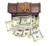 Hundred-dollar bills at chest box on a white Royalty Free Stock Photography