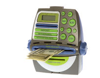 Hundred Dollar Bills coming out of ATM bank machine. US Currency One Hundred Dollar Bills coming out of a toy ATM bank machine, isolated on white background Stock Photography