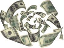 Hundred dollar bills falling. On white background Stock Image