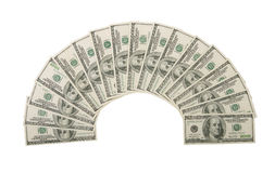 Hundred Dollar Bills Fanned Royalty Free Stock Photo
