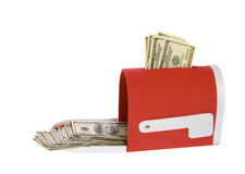Hundred Dollar Bills Flowing Mailbox. Check the mail! US Currency One Hundred Dollar Bills flowing out of a red mailbox.  isolated on white background Stock Image