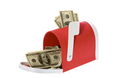 Hundred Dollar Bills Flowing Mailbox. Check the Mail: US Currency One Hundred Dollar Bills flowing out of a red mailbox.  isolated on white background Royalty Free Stock Image