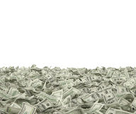 Hundred dollar bills. Many hundred dollar bills falling on white background Royalty Free Stock Image
