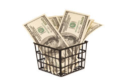 Hundred dollar bills money in the basket Royalty Free Stock Photography