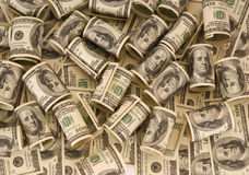 Hundred dollar bills money pile Royalty Free Stock Photo