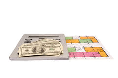 Hundred dollar bills money pile and calculator on blueprints Royalty Free Stock Images