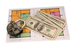 Hundred dollar bills money pile and the old castle on blueprints Stock Photos