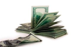 Hundred-dollar bills and the old bill Royalty Free Stock Photography
