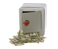 Hundred Dollar Bills in open Safe. US Currency One Hundred Dollar Bills flowing out of an unlocked, open, metal  safe with a dial lock, isolated on white Royalty Free Stock Image