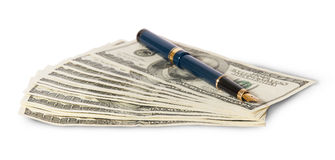 Hundred dollar bills and pen Stock Photos