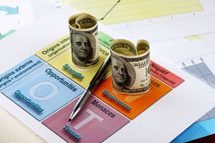 Hundred dollar bills and a pen on swot analysis Stock Image