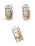 Hundred-dollar bills rolled Royalty Free Stock Photo