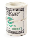 Hundred dollar. Bills rolled up with rubberband. Clipping Path Royalty Free Stock Photo