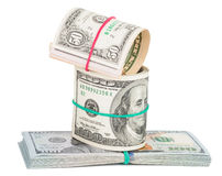 Hundred dollar bills rolled up with rubberband Royalty Free Stock Images