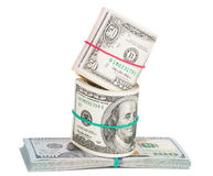 Hundred dollar bills rolled up with rubberband Royalty Free Stock Image