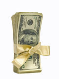 Hundred Dollar Bills Tied with a Gold Ribbon Stock Photos