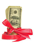 Hundred Dollar Bills Tied in a Red Ribbon. Bundles of cash tied with a Red Ribbon.  Perfect for Gifts Stock Image