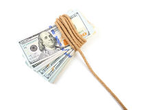 Hundred-dollar bills tied Stock Image