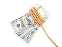Hundred-dollar bills tied Stock Photos