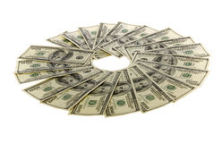 Hundred Dollar Bills: Two Thousand. US Currency Twenty One Hundred Dollar Bills arranged in a circle: two thousand dollars, isolated on white background Stock Photography