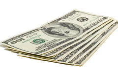 Hundred dollar bills US on white background Stock Images