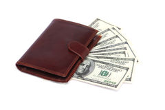 Hundred dollar bills and wallet Royalty Free Stock Photography