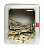 Hundred Dollar BillsOut of an unlocked, open  Safe. US Currency One Hundred Dollar Bills flowing out of an unlocked, open, metal  safe with a dial lock, isolated Stock Photography