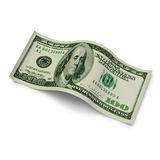 Hundred dollar currency banknote. Hundred dollar banknote with a curl on white background Royalty Free Stock Photos