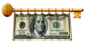 Hundred Dollar Key Banner. Photo Illustration of a 50 dollar bill retouched and re-illustrated as a banner hanging on a gold key Stock Photography