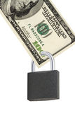 Hundred dollar with a lock. Benjamin franklin Royalty Free Stock Photo