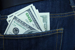 Hundred-dollar notes in a pocket Stock Photos